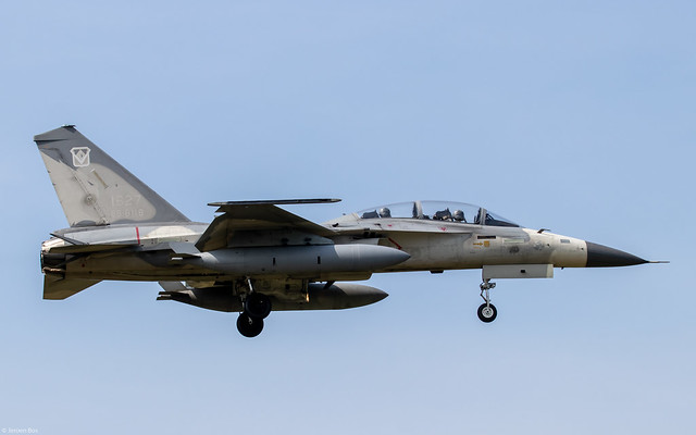 RoCAF AIDC F-CK-1D Hsiang Sheng 1627 / 88-8118  of the 1st TFW, 1st TFG on final approach at Tainan AFB