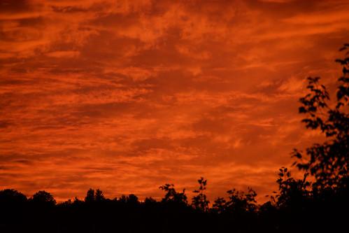 sunset landscape quechee vermont usa clouds