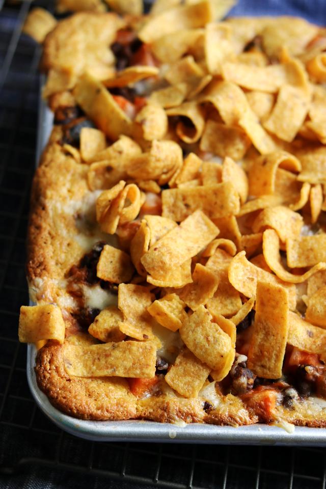 Vegetarian Frito Chili Cornbread Slab Pie