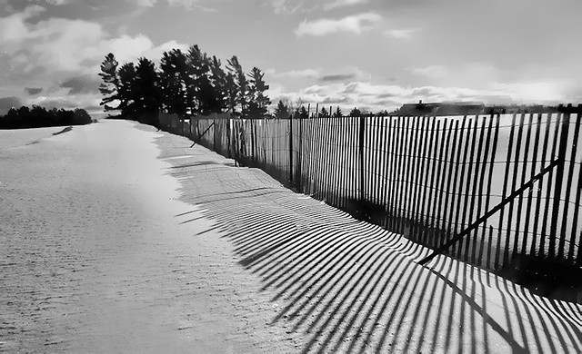 Snow fence and Shadows-Ontonagon County, MI