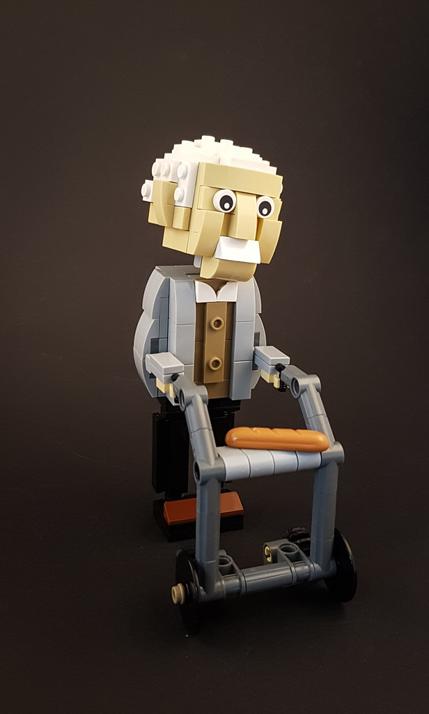 Lonely Old Man MOC. Man with walker.