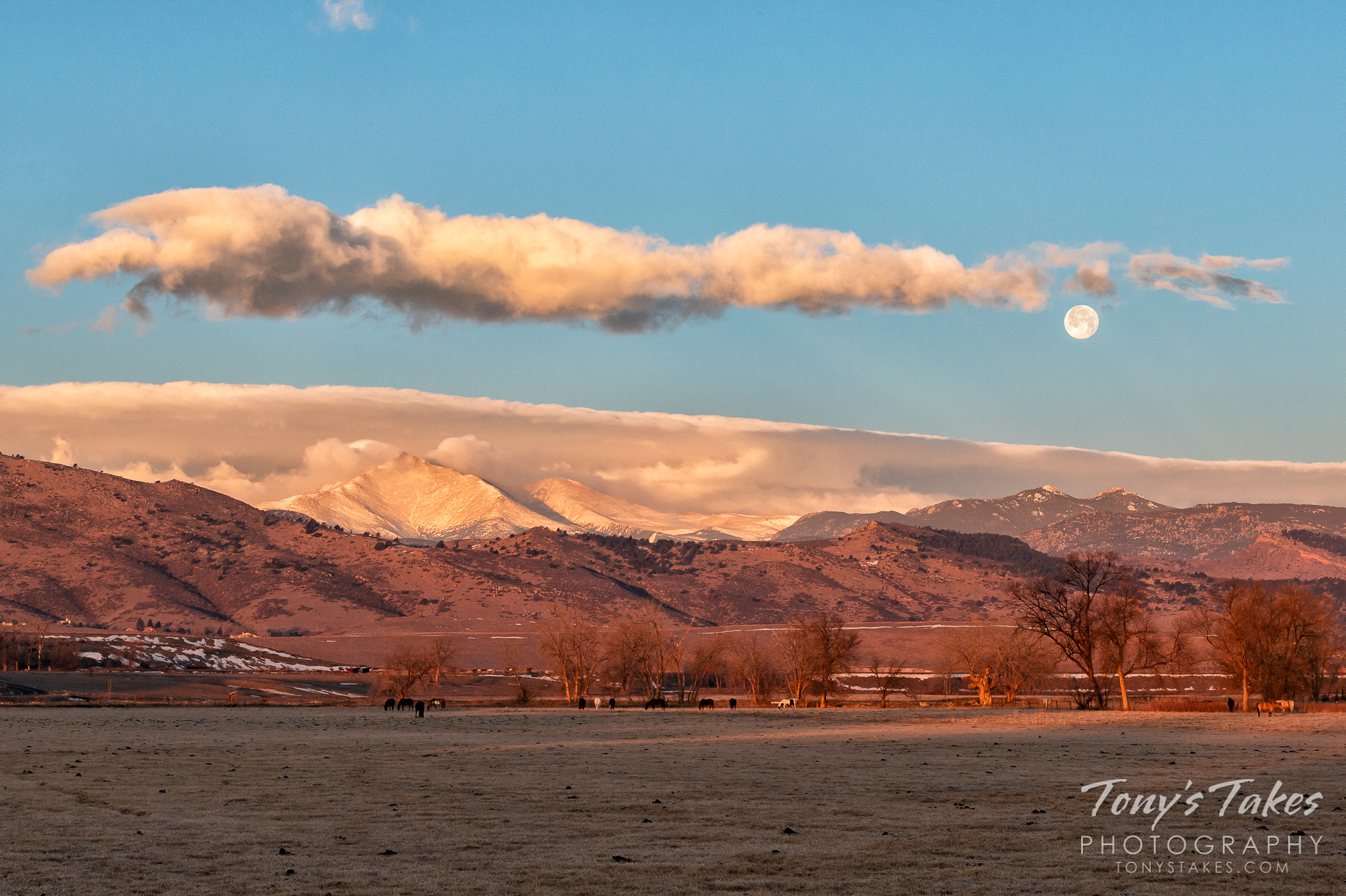 The full wolf moon prepares to set behind the Rocky Mountains in Boulder County, Colorado. (© Tony's Takes)