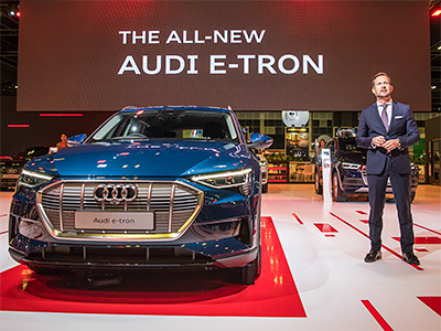The Audi e-tron full-size SUV is Audi's first full-electric model.