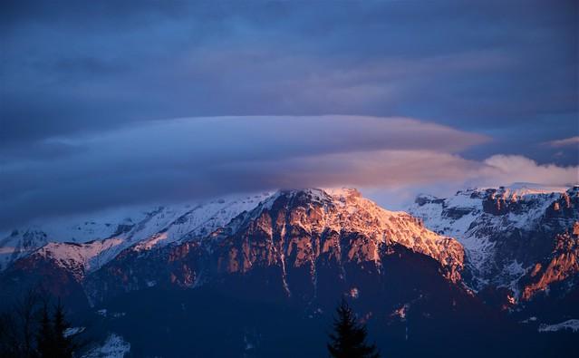 Plume clouds over Bucegi Mountains