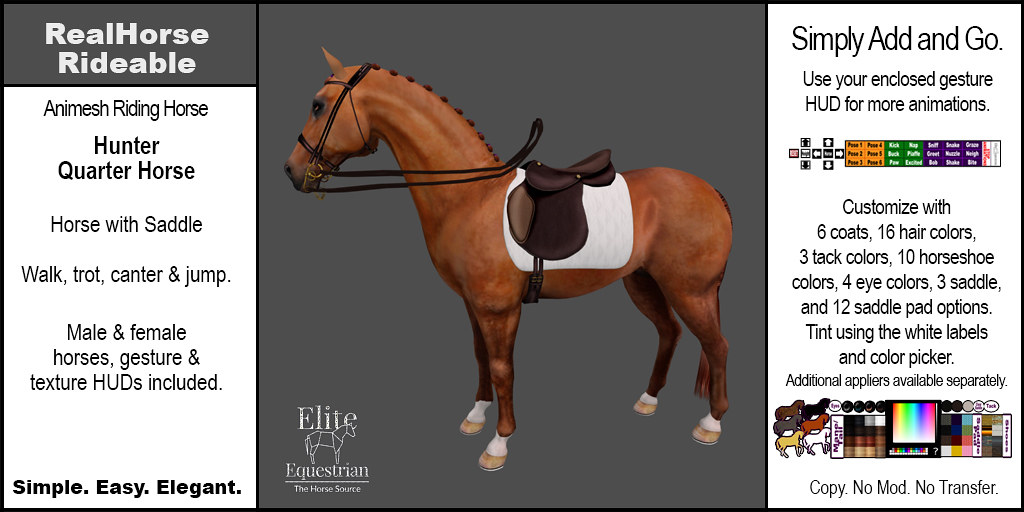 Elite Equestrian's RealHorse Rideable Quarter Horse Hunter