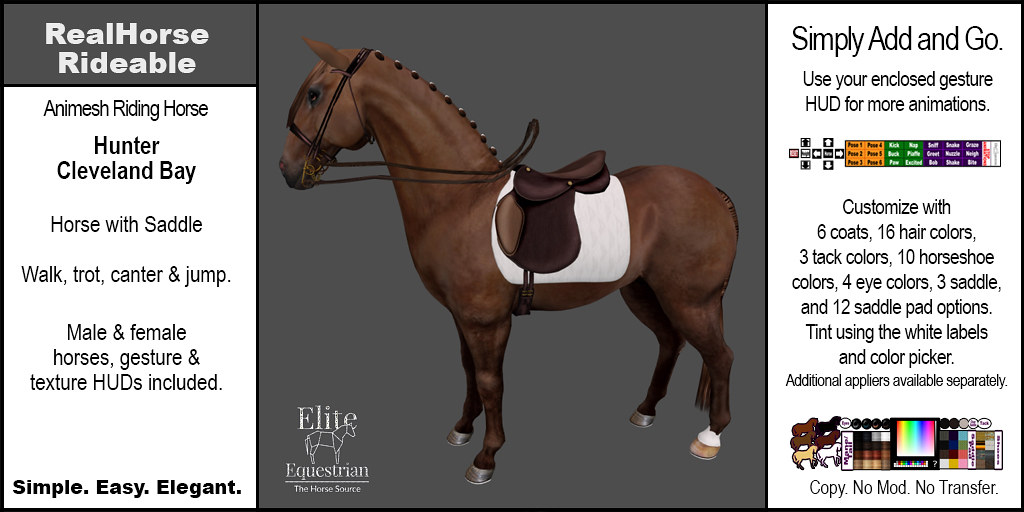 Elite Equestrian's RealHorse Rideable Cleveland Bay Hunter