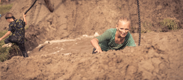 Ascending a mud mountain.