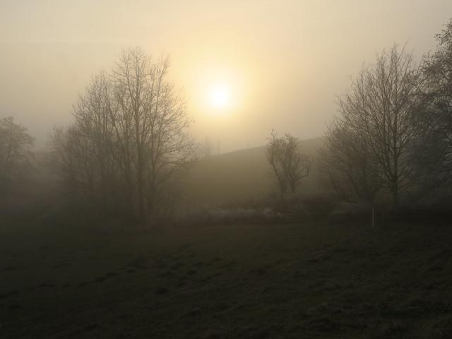 Sonne hinter dem Nebel