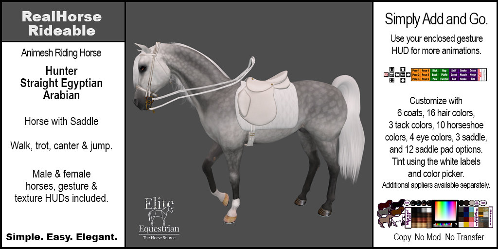 Elite Equestrian's RealHorse Rideable Straight Egyptian Arabian Hunter