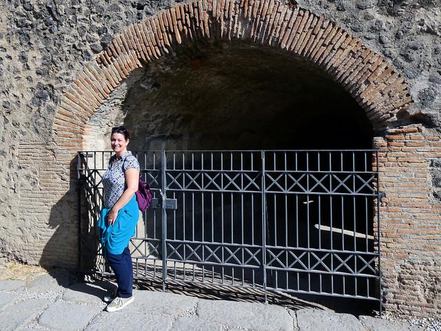 Italy 2019, Pompeii Pompei, Amphitheatre of Pompeii posed