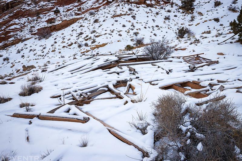 Mining Cabin Ruins Under Snow
