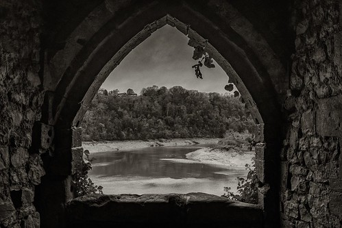 monmouthshire blackwhite chepstowcastle window castle riverwye chepstow wales uk old trees water built nikon d500