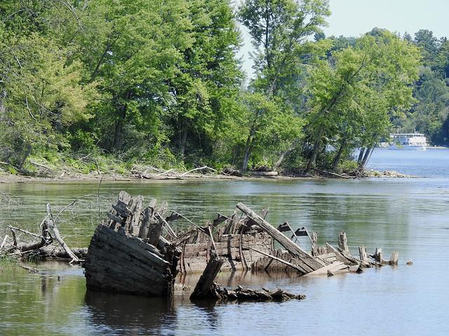The ruins (wreck) of the former wooden schooner Ville de Vanier in Gatineau, Quebec