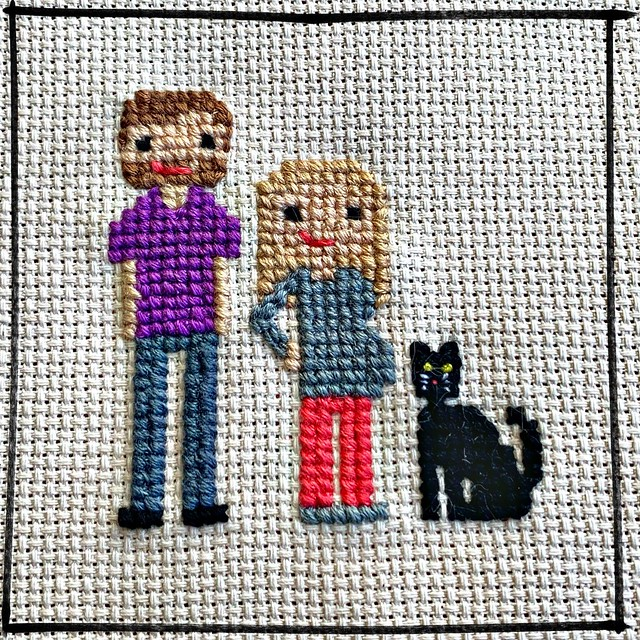 Cross Stitch Family Portrait - Maternity