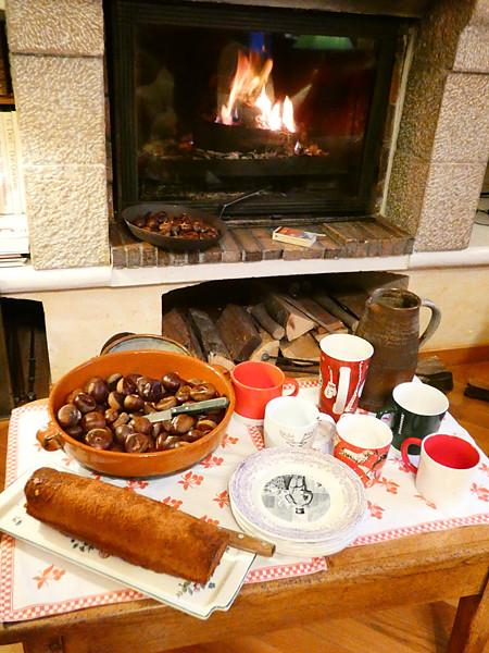 marrons chauds et cake à la cannelle