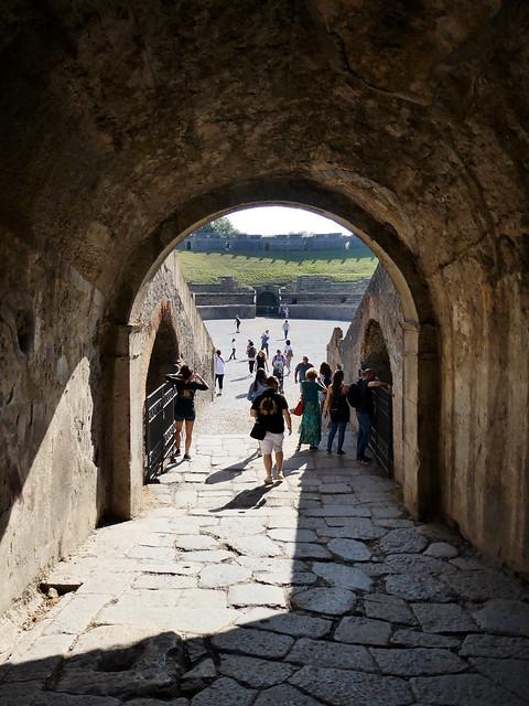Italy 2019, Pompeii Pompei, Amphitheatre of Pompeii entering through the tunnels 3
