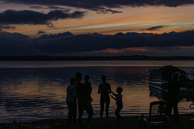 sunset silhoutte on Lake St. Helen, Michigan