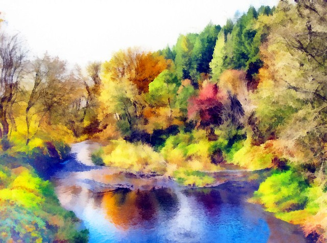 North Fork of Alsea River, Made Painterly 011220