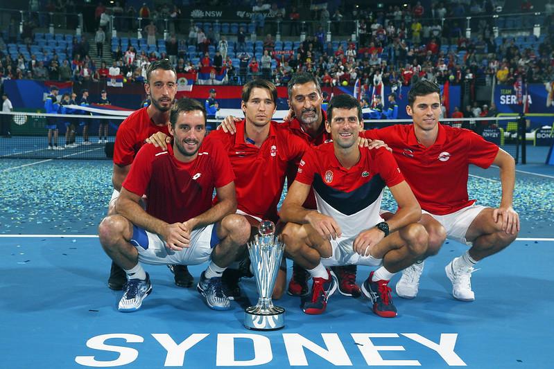 Novak Djokovic與塞爾維亞隊友們。(達志影像)