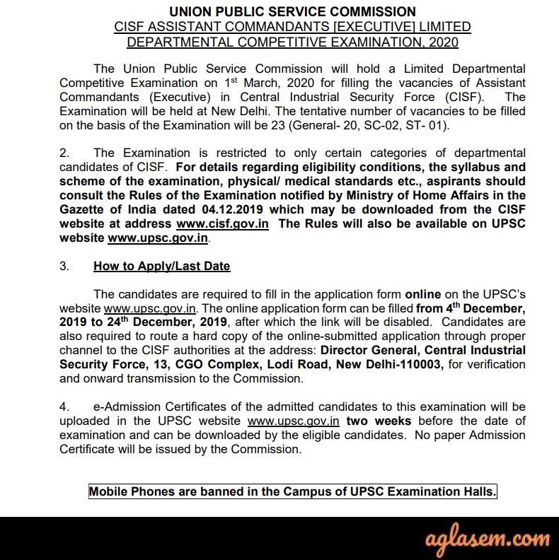 UPSC CISF AC (Exe) LDCE