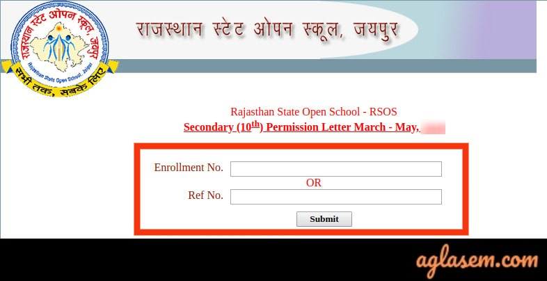 RSOS 10th Admit Card March/ May 2020