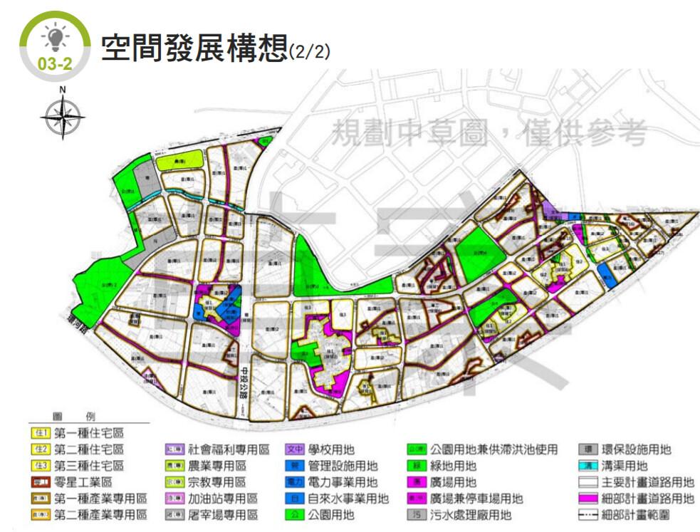大里夏田產業園區空間發展構想。擷取自台中市政府網站