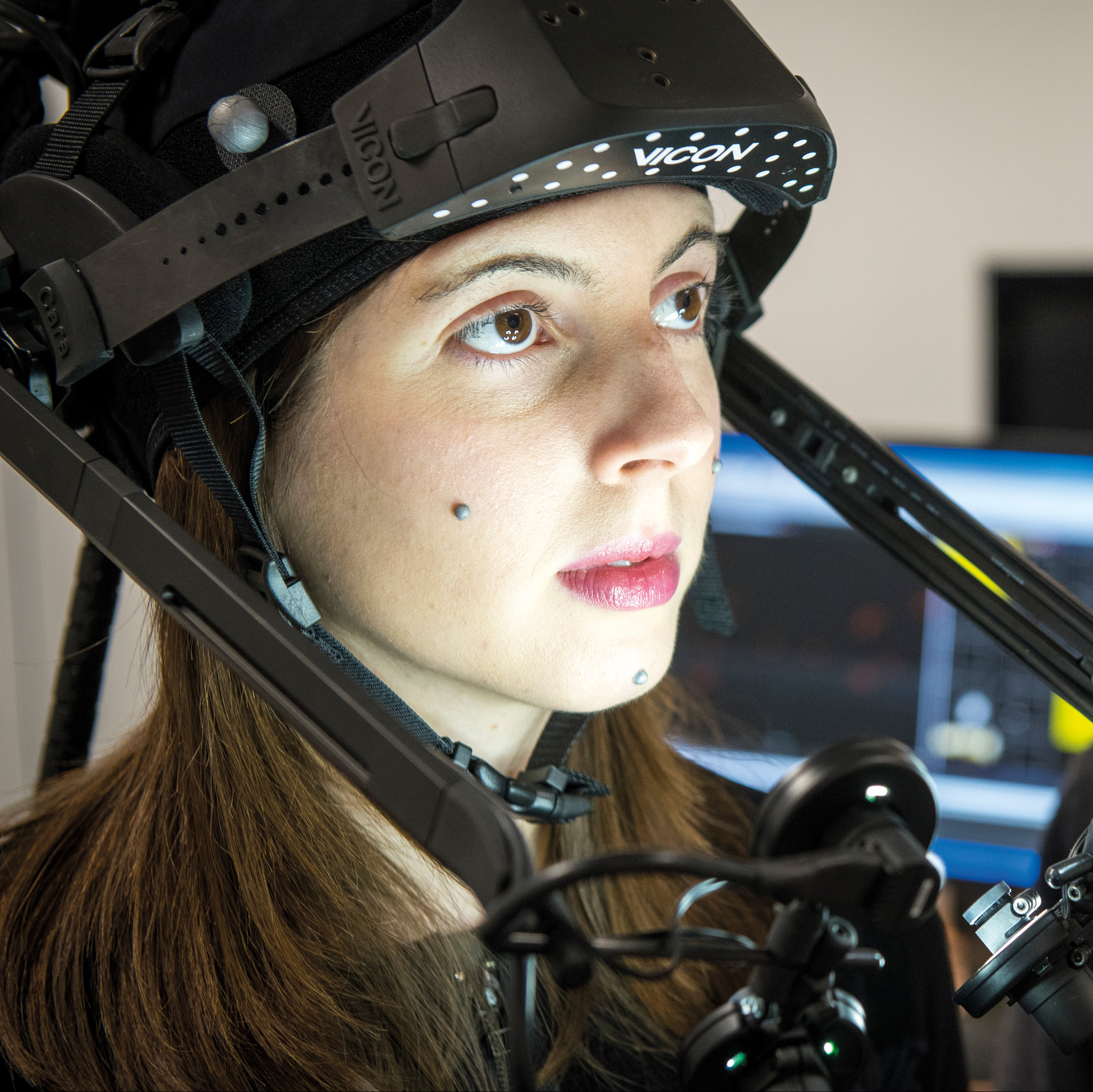 Researchers using motion capture equipment