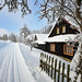 Malebná osada Bielovci s několika dřevěnicemi hned vedle lyžařských stop, foto: Jan Hocek