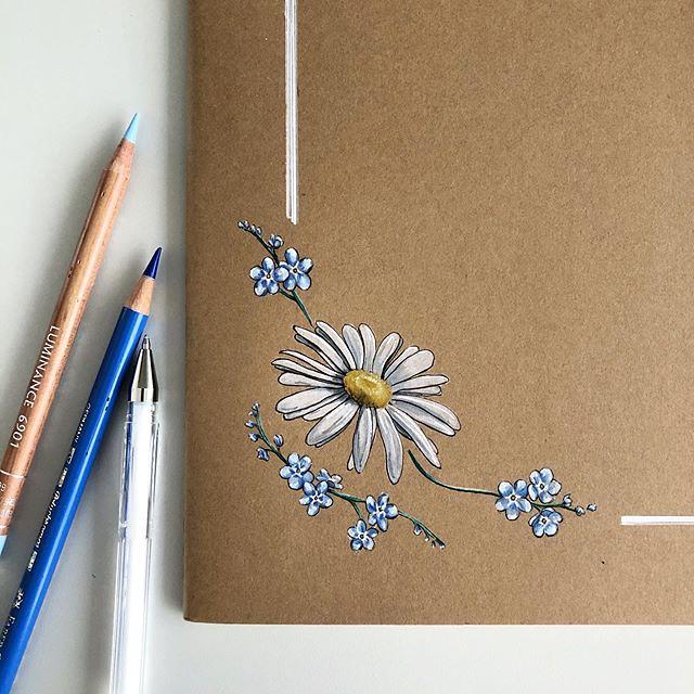 Doodling on my new @moleskine notebooks... . . #art #drawing #pen #pencil #sketch #illustration #flower #flowers #daisy #forgetmenot #moleskine #notebook #fabercastell #carandache