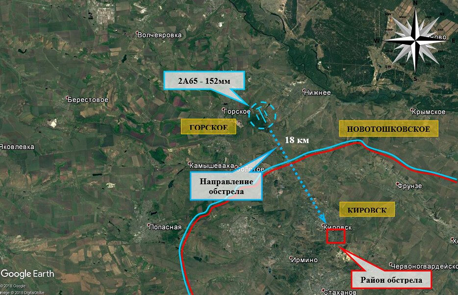 map of AFU shelling against Kirovsk