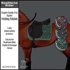 Elite Equestrian - RealHorse Rideable - English Saddle Pad Applier - Holiday Metals