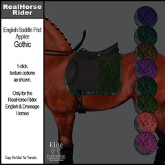Elite Equestrian - RealHorse Rideable - English Saddle Pad Applier - Gothic
