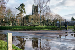 St Augustine's Church - view from the school puddle.
