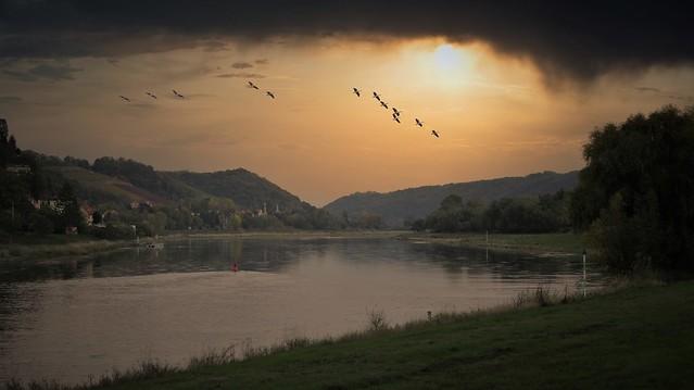 Sonnenuntergang an der Elbe bei Meissen   IMGP7525aa