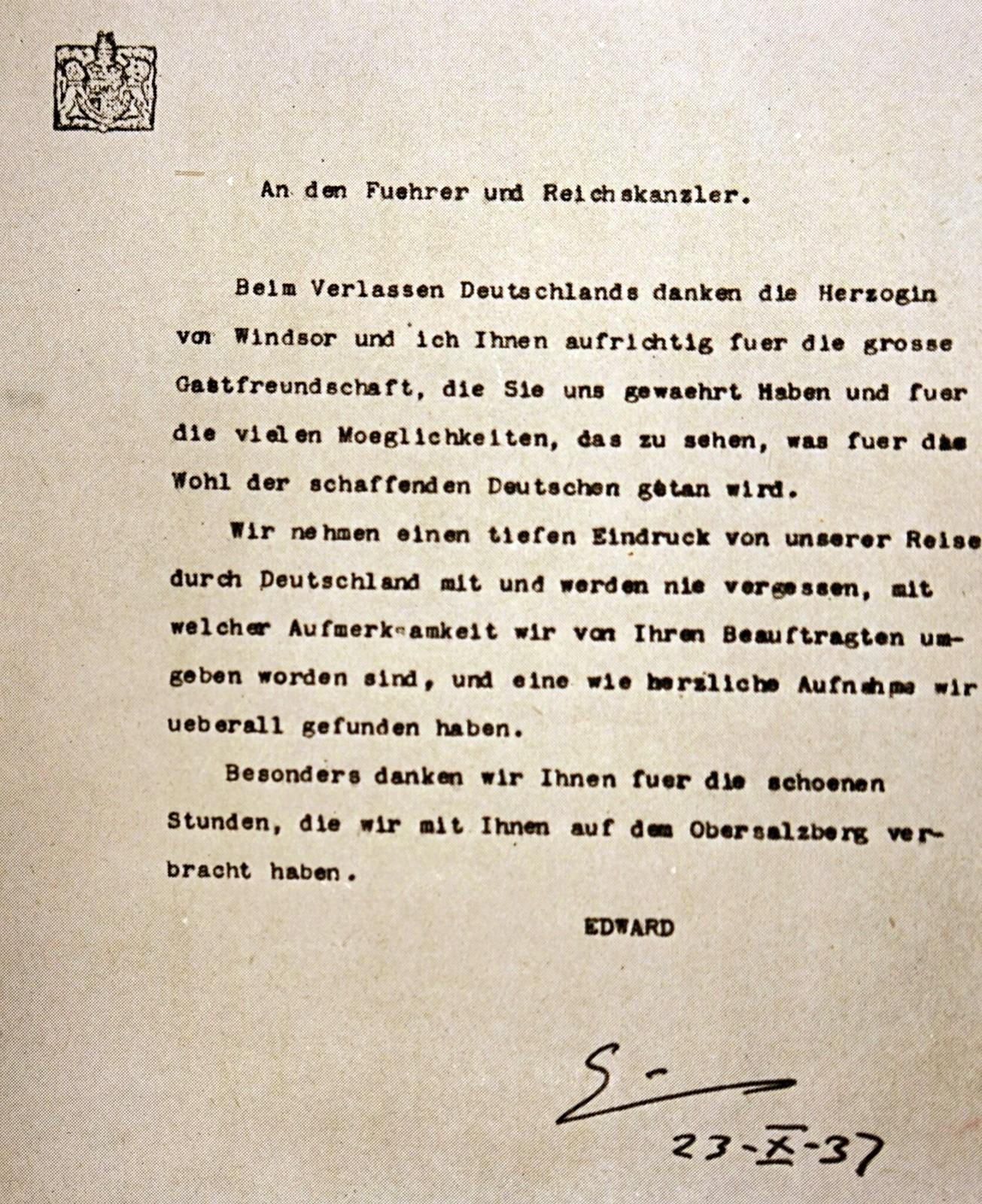 Благодарственное письмо герцога Виндзорского за гостеприимство, проявленное Адольфом Гитлером.