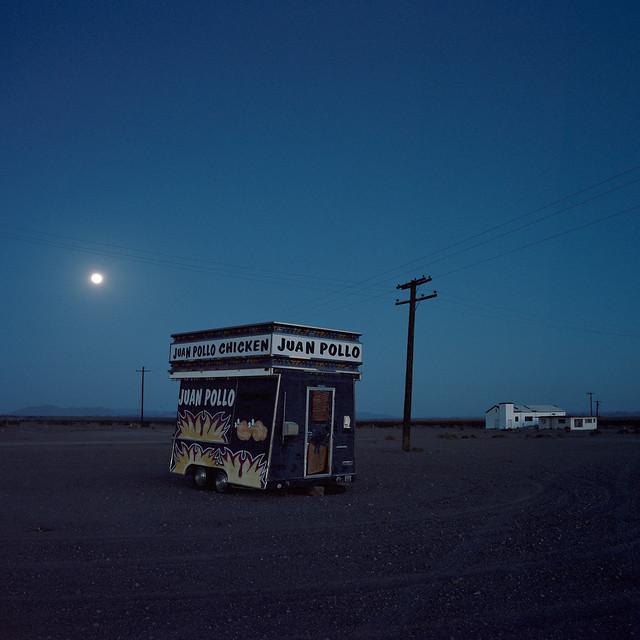 moonrise pollo / route 66. amboy, ca.  2015.