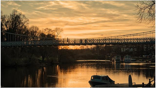 Queens Park Bridge Chester at sunset 12.01.2020