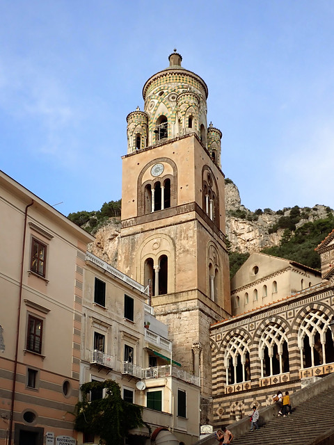 Italy 2019, Amalfi Coast, Amalfi, belltower bell tower of the Cathedral of Saint Andrew the Apostle