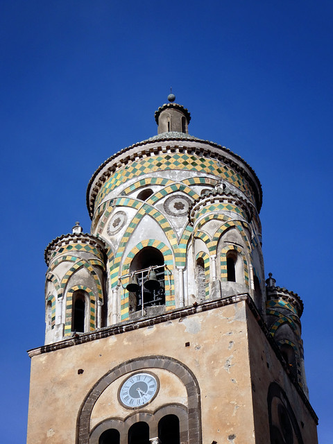 Italy 2019, Amalfi Coast, Amalfi, belltower bell tower of the Cathedral of Saint Andrew the Apostle 3