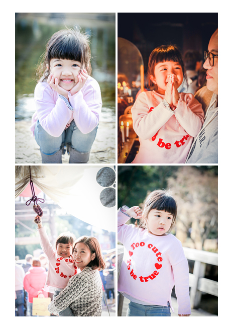 A girl visiting Japan for vacation, family photo shooting