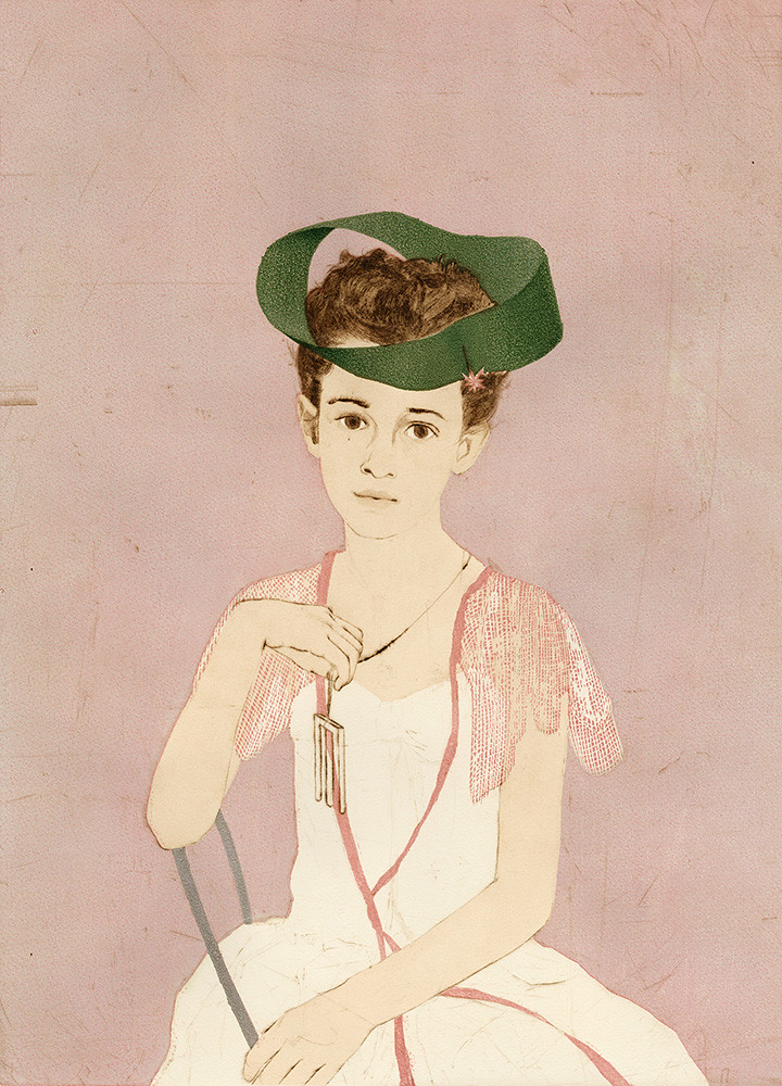 Girl With Blivet Pendant Wearing a Mobius Strip as a Hat