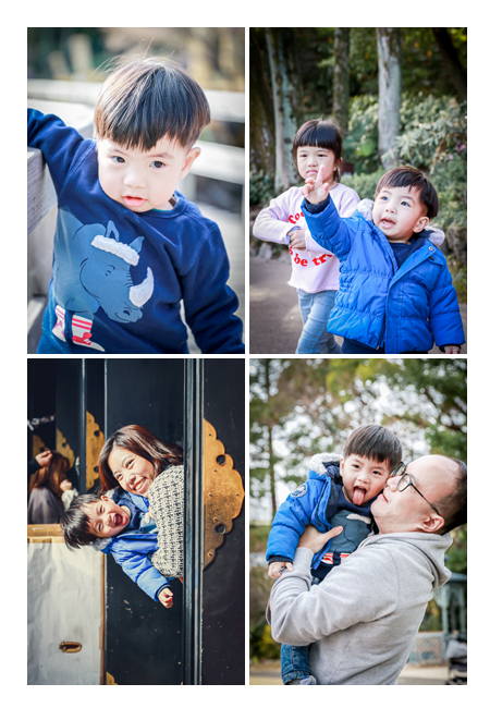 A boy visiting Japan for vacation, family photo shooting