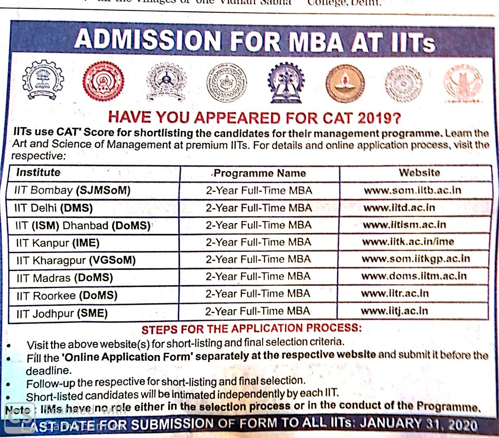 IIT MBA Admission 2020 through CAT 2019 - Process and Selection Criteria