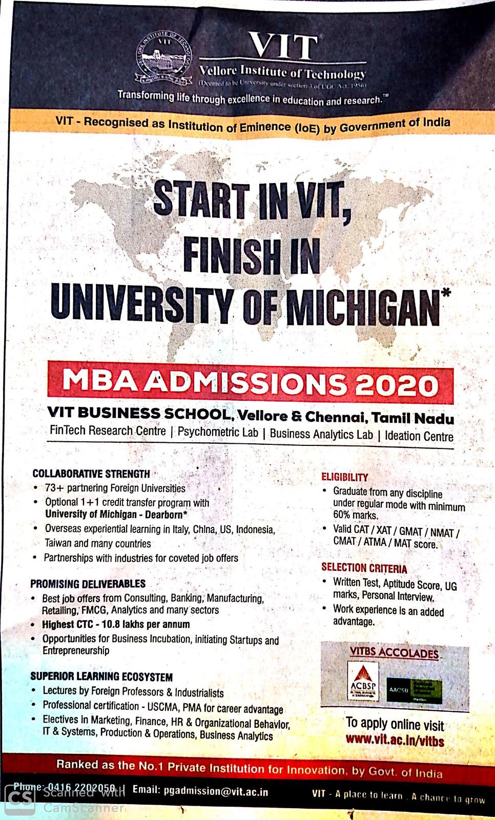 VIT MBA Admission 2020