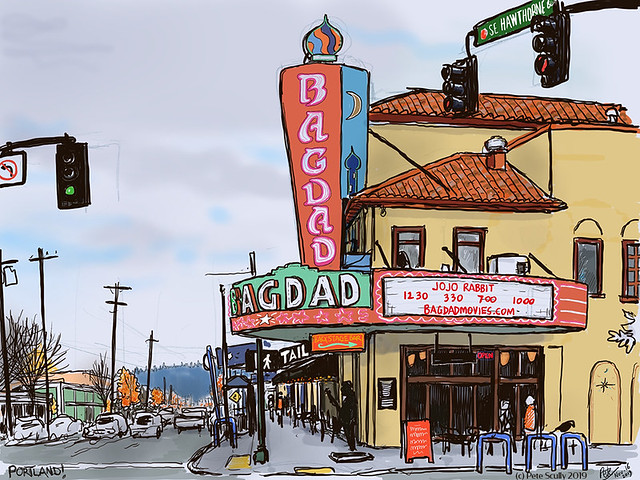 Bagdad Theatre Portland iPad sketch