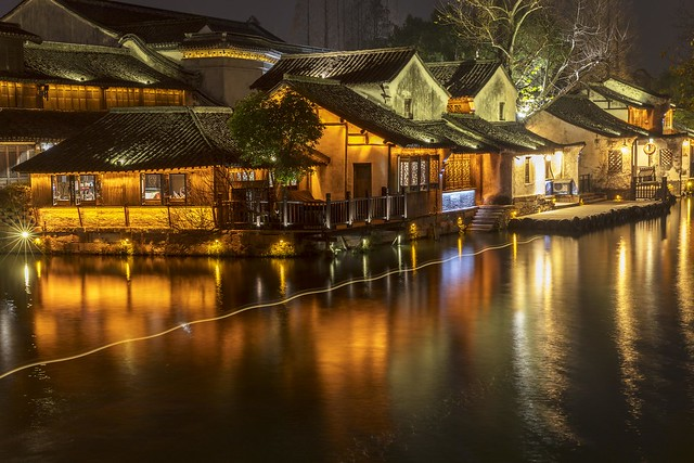 Night Reflections and Light Trail in Wuzhen China