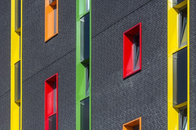 Red, green, yellow and orange windows