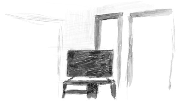 A very rough sketch featuring several plain squares with some rough perspective. The sketch represents my living room. There is a dark square in the center representing my TV, with multiple arches representing the various openings in the wall.