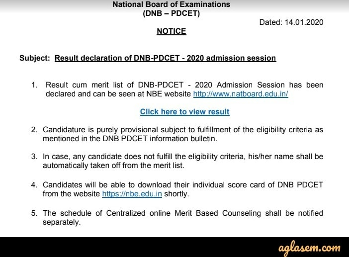 DNB PDCET Jan 2020 Result release notice