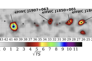 A map of the galactic plane indicates the highest energy gamma ray sources yet discovered. The sources comprise a new catalog compiled by the members of the High Altitude Water Cherenkov Observatory collaboration.